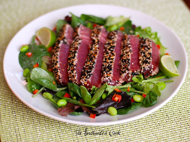 Spicy Seared Ahi Tuna Salad with Sesame Ginger Dressing recipe