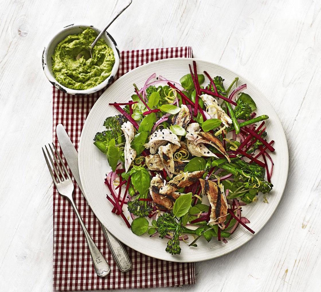 Chicken, broccoli & beetroot salad with avocado pesto recipe