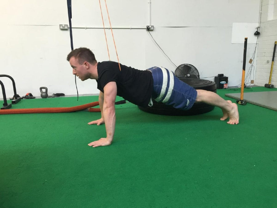 Resistance Band Push-Ups 1 of 2