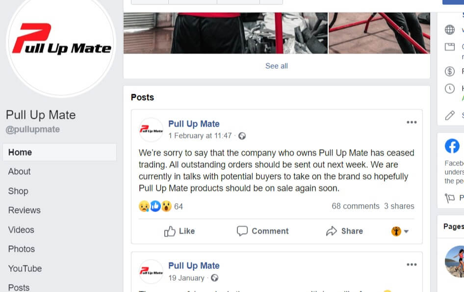 Pull Up Mate - FB announcement