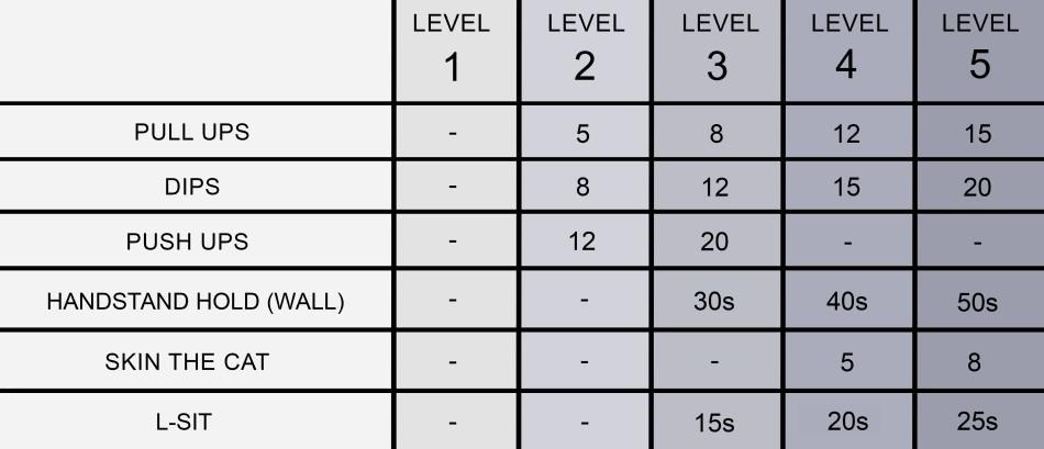Calisthenics Movement Requirements Levels 1-5