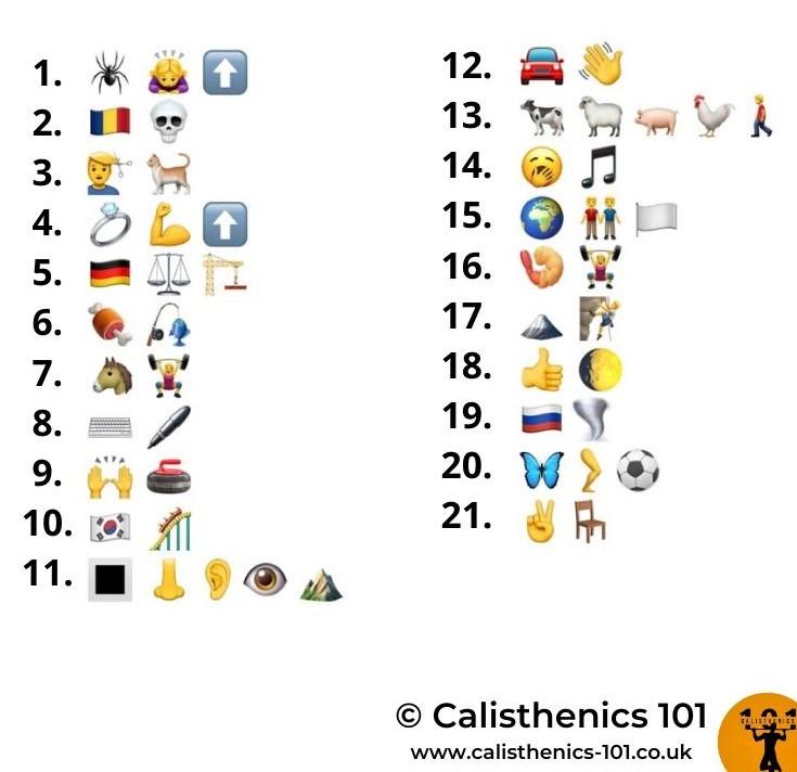 Exercise Emoji Quiz (Calisthenics 101)