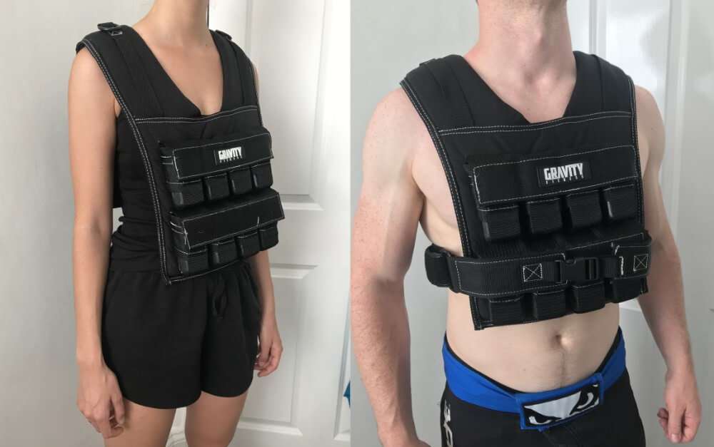 Female and male wearing the Gravity Fitness Weighted Vest