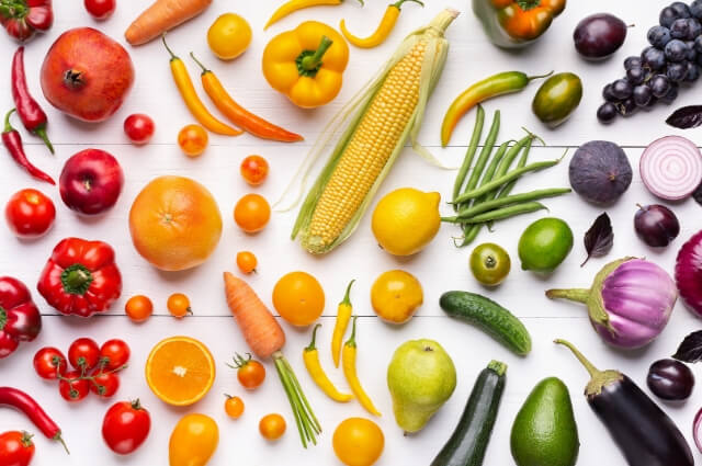 A rainbow coloured selection of fruit and vegetables
