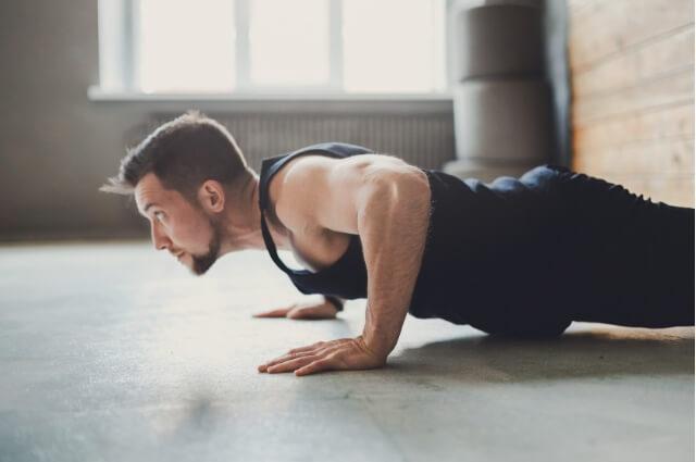 Man performing a push-up
