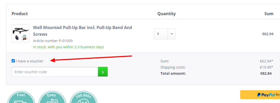 Red arrow showing where the voucher code input is within the checkout